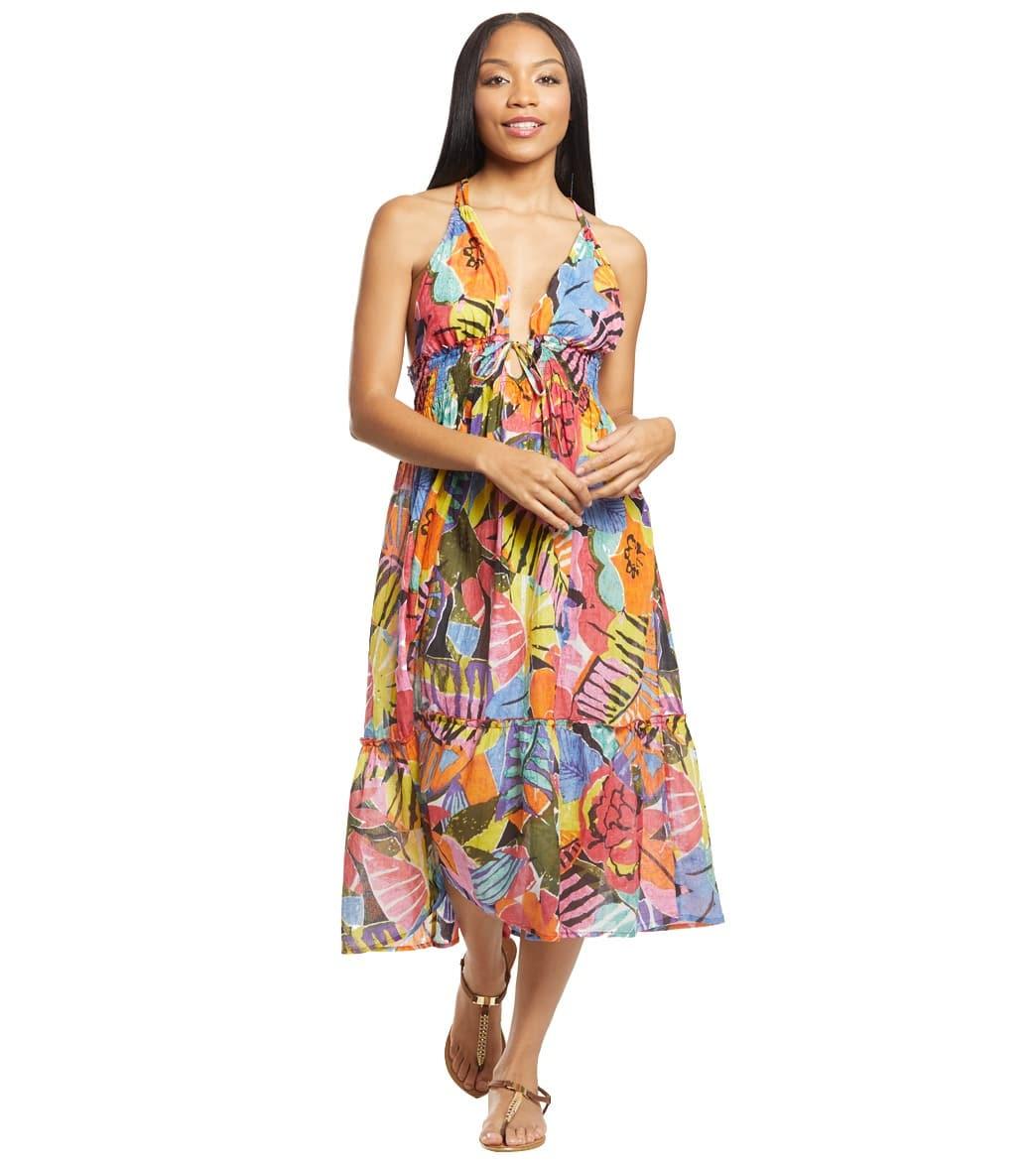 Ralph Lauren Polo Shirt Batik Floral Cover Up Midi Dress Cotton