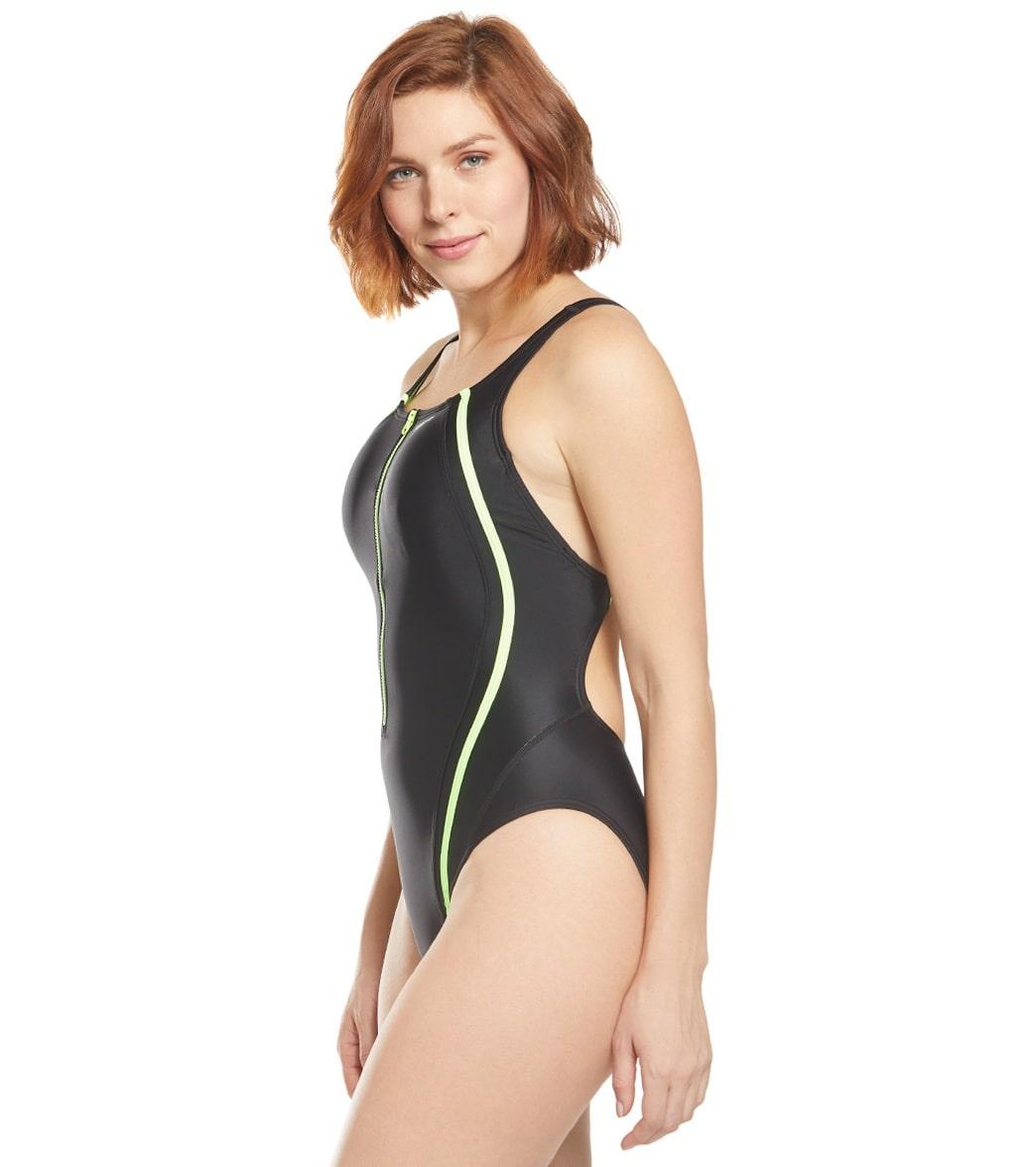 2d579405d043b Speedo Quantum Splice Zip One Piece Swimsuit at SwimOutlet.com ...