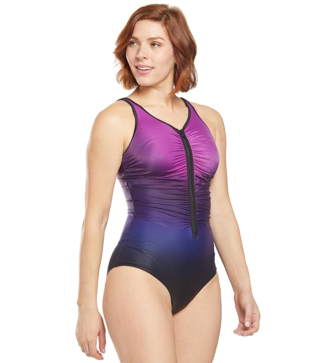 8e3d784d2f17a Speedo Women's Plunge Zip Ombre One Piece Swimsuit at SwimOutlet.com ...