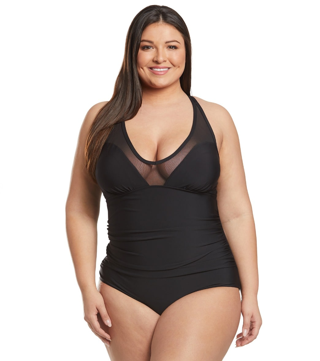62d1ad9b04d Speedo Plus Size V-Neck Mesh One Piece Swimsuit at SwimOutlet.com - Free  Shipping