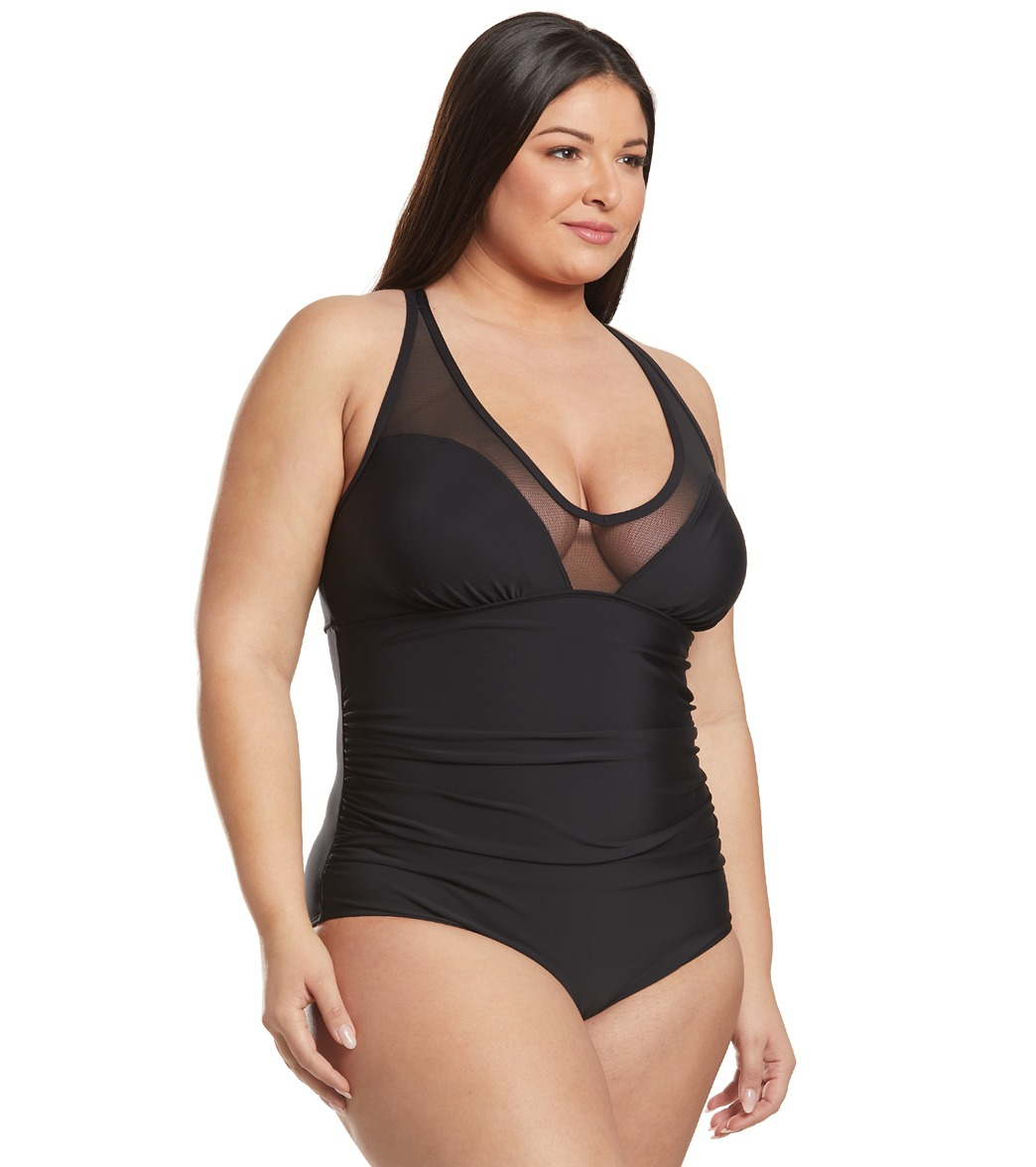 48ff79ff5fd Speedo Plus Size V-Neck Mesh One Piece Swimsuit at SwimOutlet.com ...