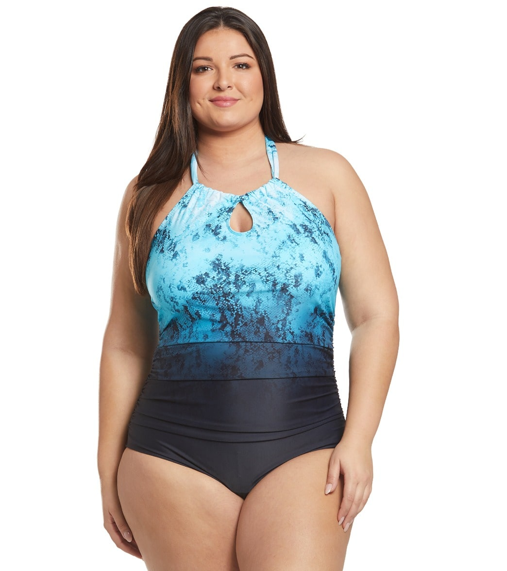 cced8585cab Speedo Plus Size Print Halter One Piece Swimsuit at SwimOutlet.com - Free  Shipping