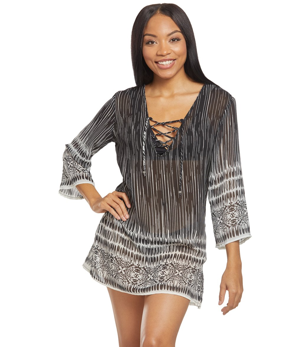 7242d9c958 J.Valdi Coastline Lace Up Cover Up Tunic at SwimOutlet.com - Free Shipping