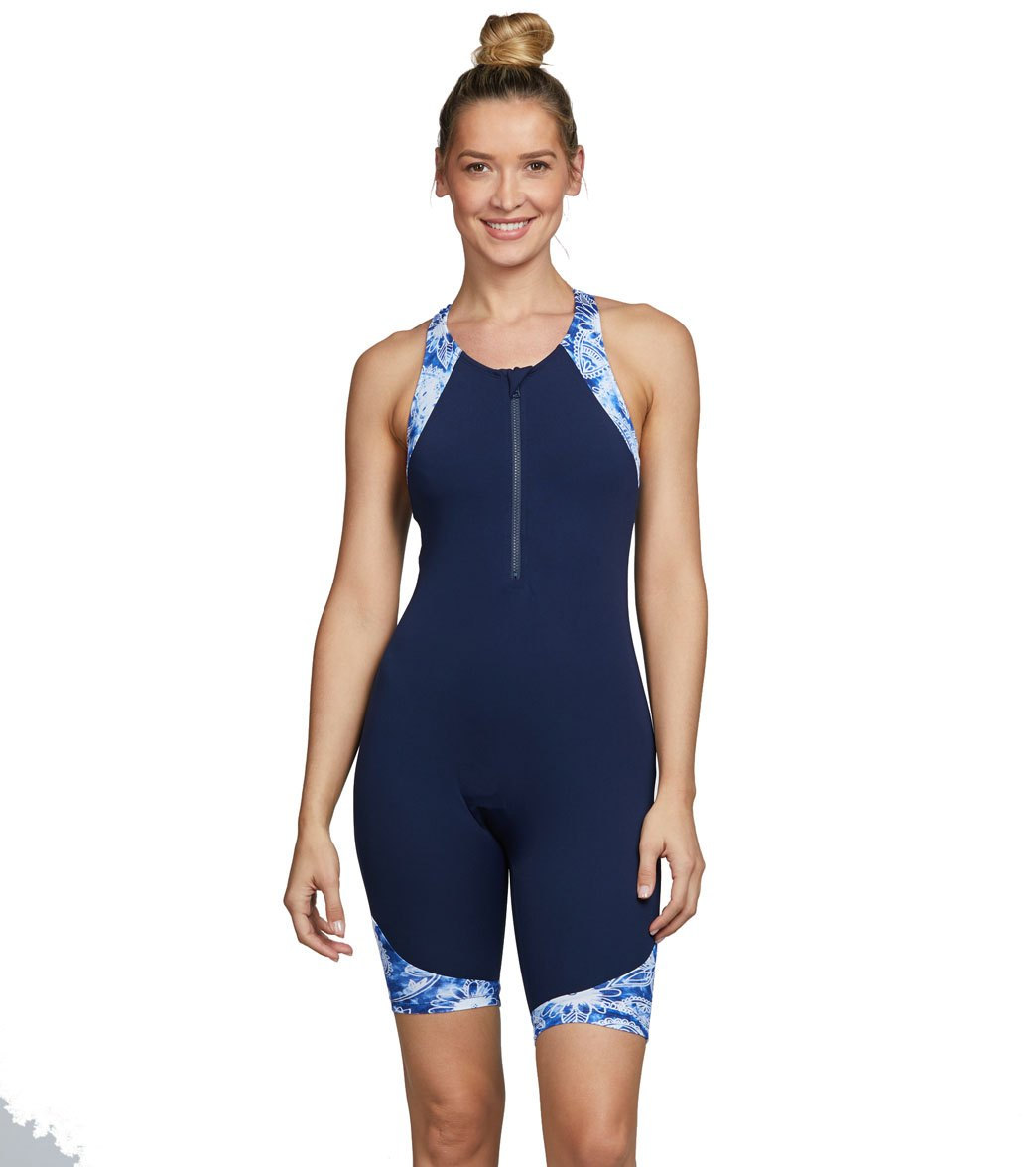 aadf276ed84 Dolfin Women's Aquashape Paisely Racerback Zip Front Chlorine Resistant  Unitard at SwimOutlet.com - Free Shipping