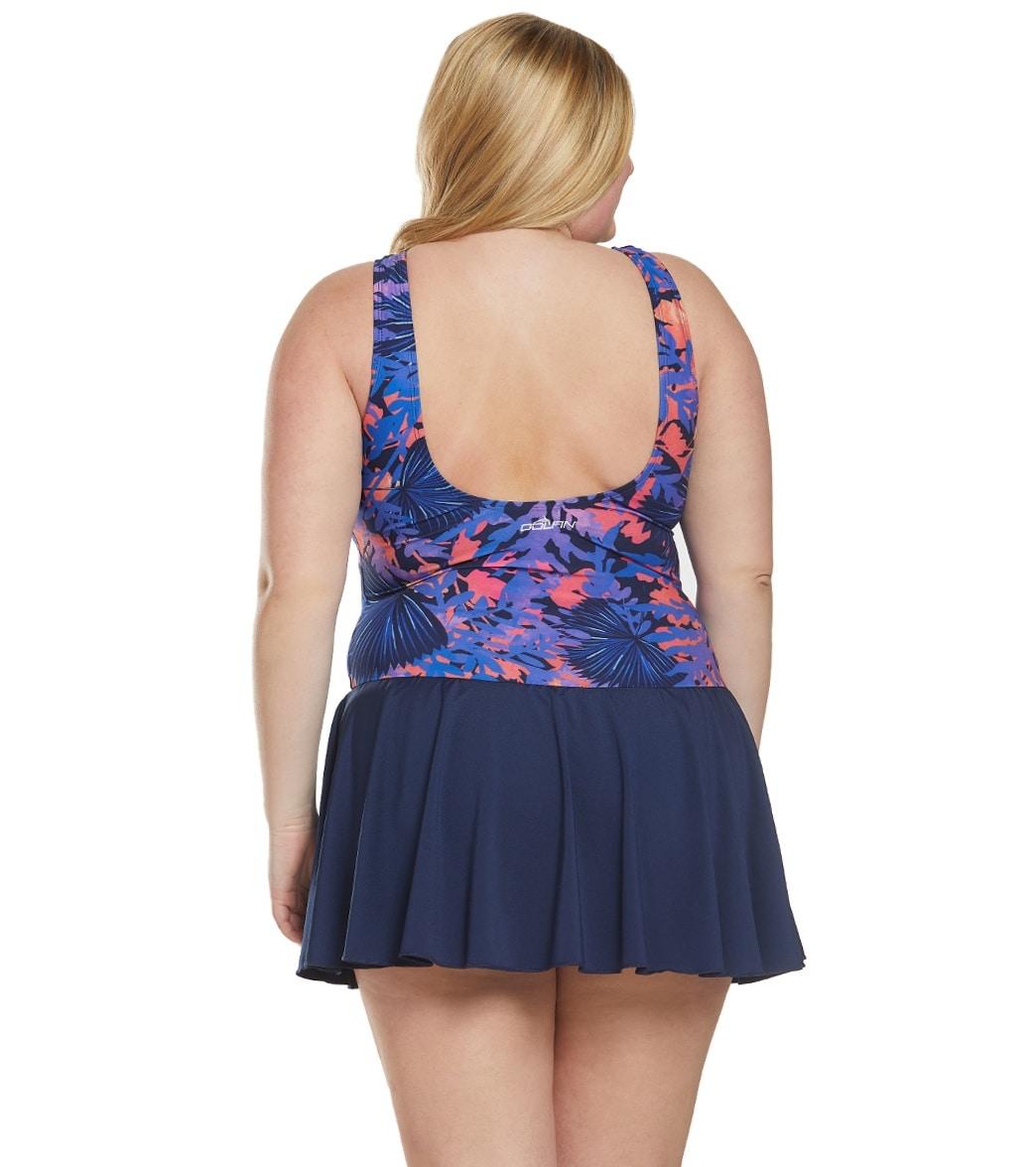 8077d5202b2dd Dolfin Women's Plus Size Aquashape Isla Color Block Chlorine Resistant Swim  Dress