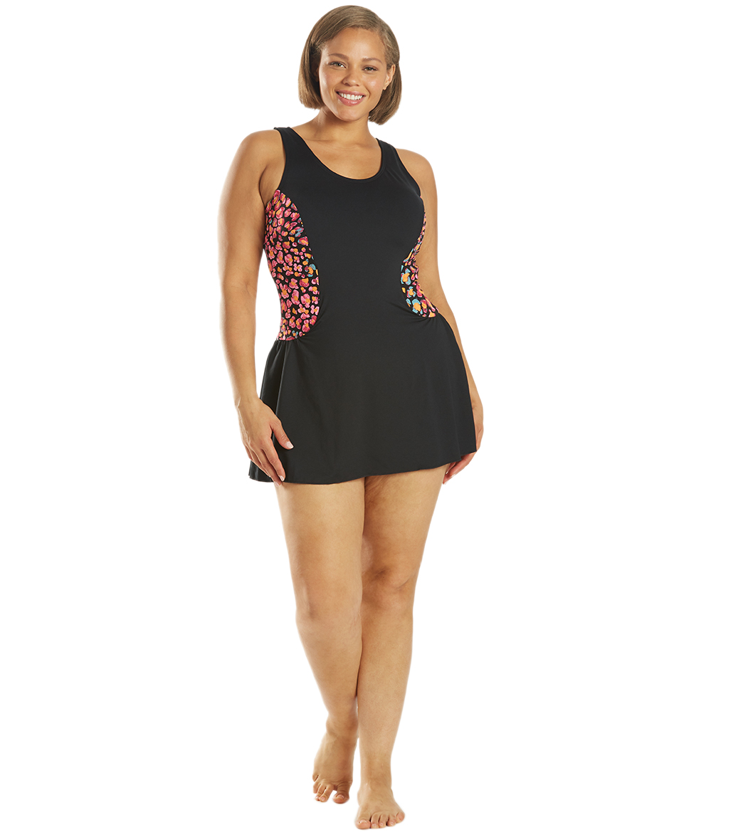 771998ea7bbdb Dolfin Women's Plus Size Aquashape Jag Color Block Chlorine Resistant Block Swim  Dress