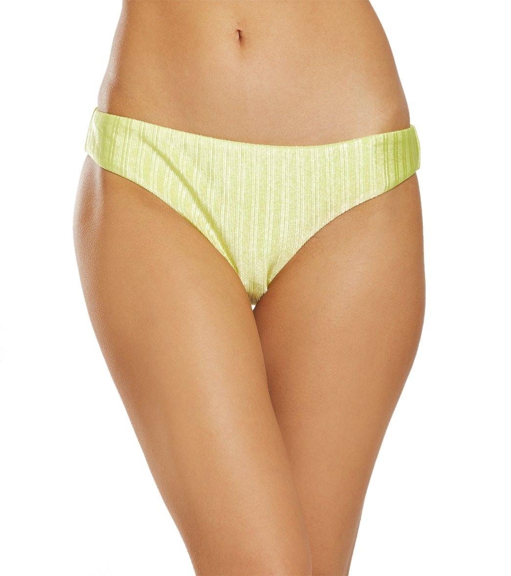 Bikini Lab Luster Rib Texture Solid Hipster Bikini Bottom