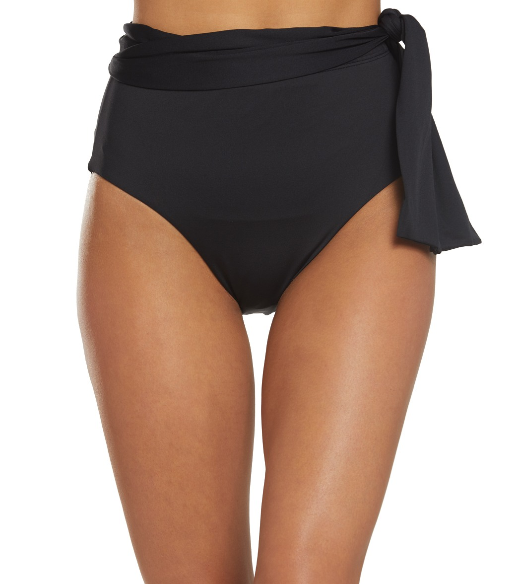 b3d30ceed Lauren Ralph Lauren Beach Club Solids High Waisted Tie Bikini Bottom at  SwimOutlet.com - Free Shipping