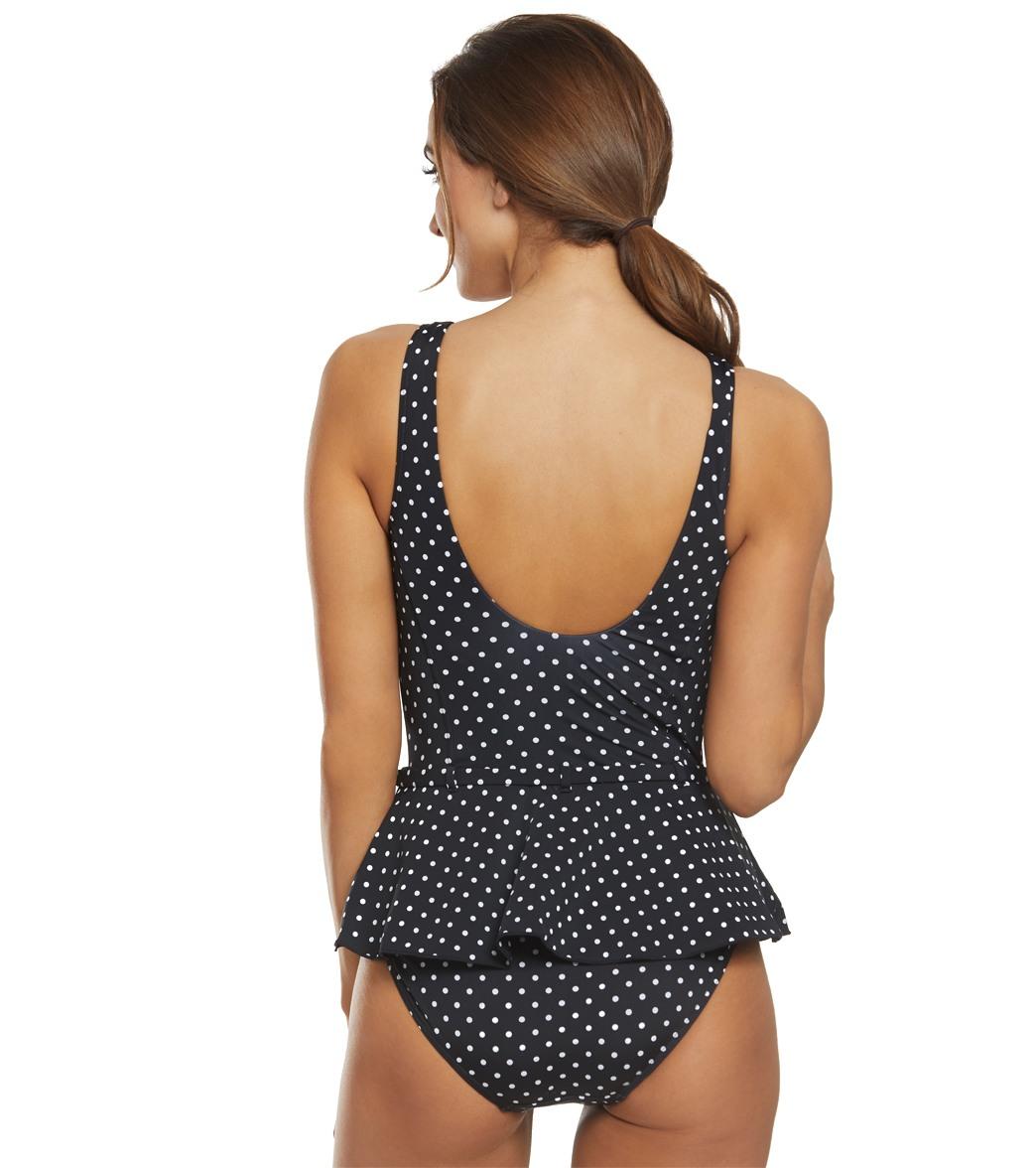 76be41579f Lauren Ralph Lauren Pin Dot Peplum One Piece Swimsuit at SwimOutlet.com -  Free Shipping
