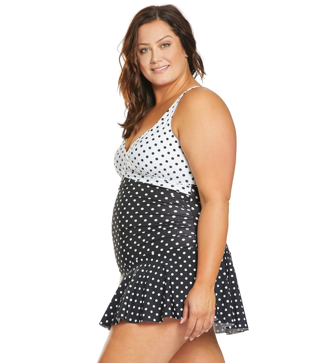 a46c6b30fb Ralph Lauren Chaps Plus Size Slimming Fit Mixed Dot Halter Swim Dress