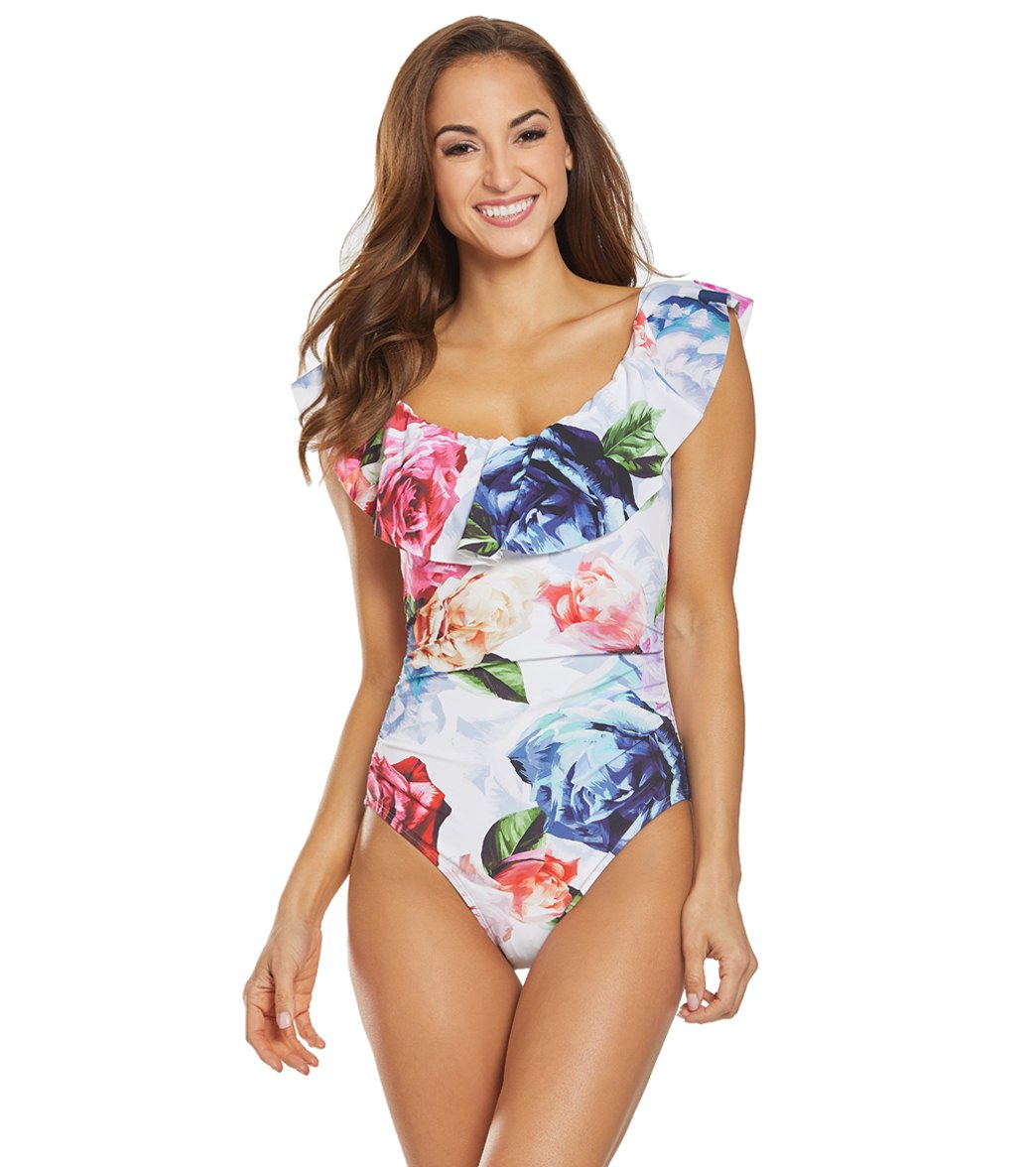 4a112bc15baa3 La Blanca Bloom Field Off The Shoulder One Piece Swimsuit at SwimOutlet.com  - Free Shipping
