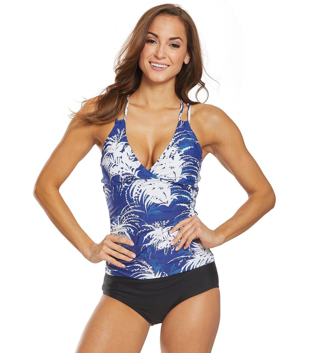 56d1c2260396e La Blanca Go Bold Or Go Home Underwire Surplice Tankini Top at  SwimOutlet.com - Free Shipping