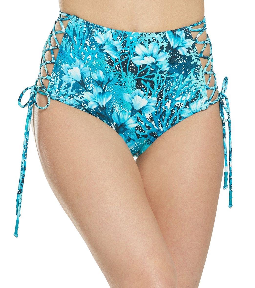 Carmen Marc Valvo Coral Reef Garden Side Tie High Waisted Bikini Bottom