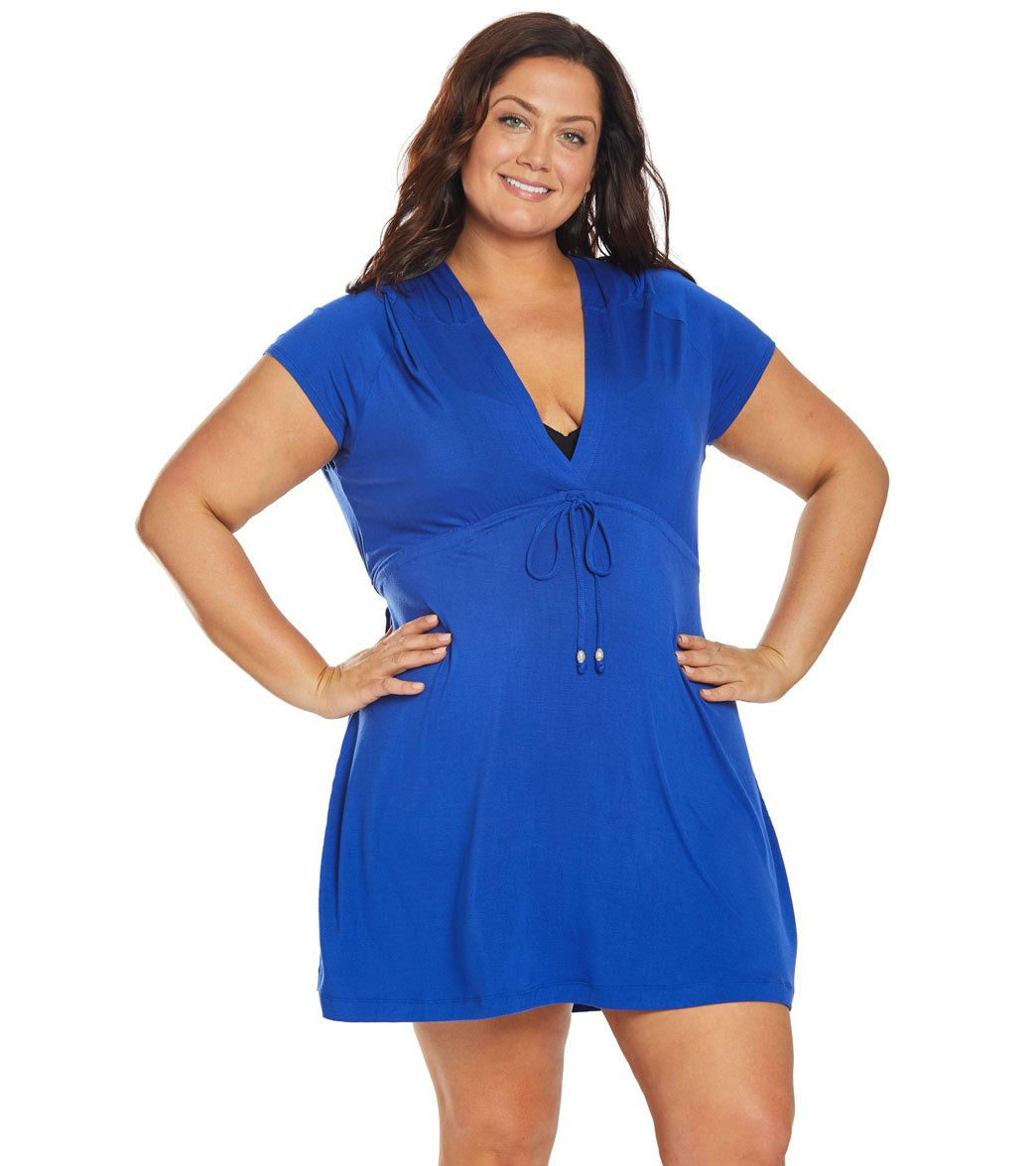4e9ce791665 Dotti Plus Size Paradise Solids Hooded Cover Up Dress at SwimOutlet.com -  Free Shipping