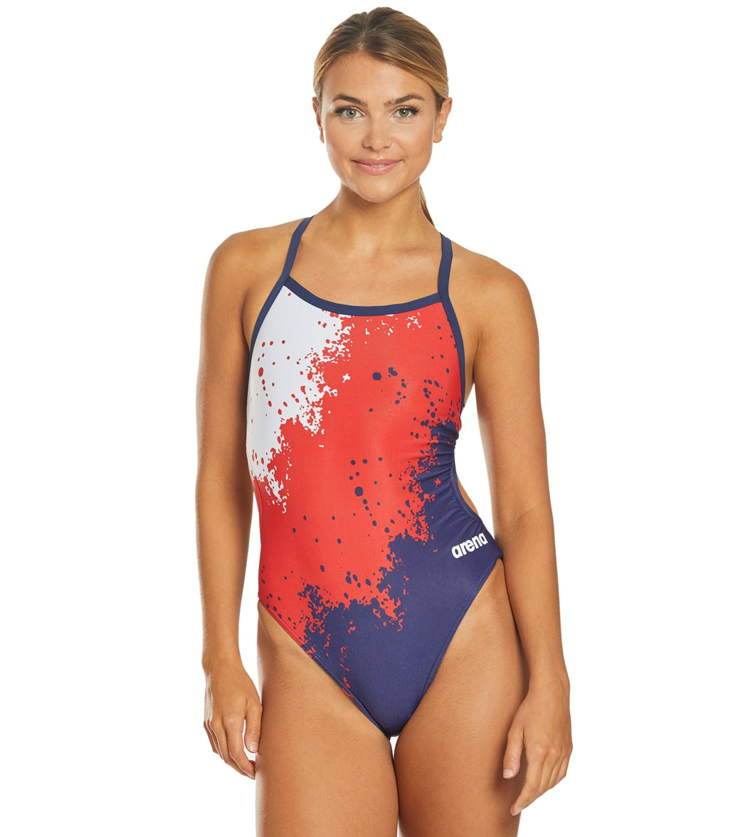 arena Womens Warning One Piece Drop Back Pool Training Swimming Swimsuit Costume
