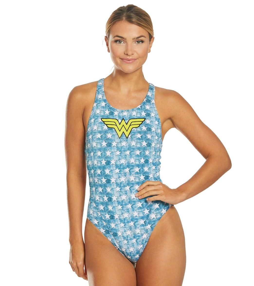 Arena Womens WB Wonder Woman Face Swim Pro Back One Piece Swimsuit