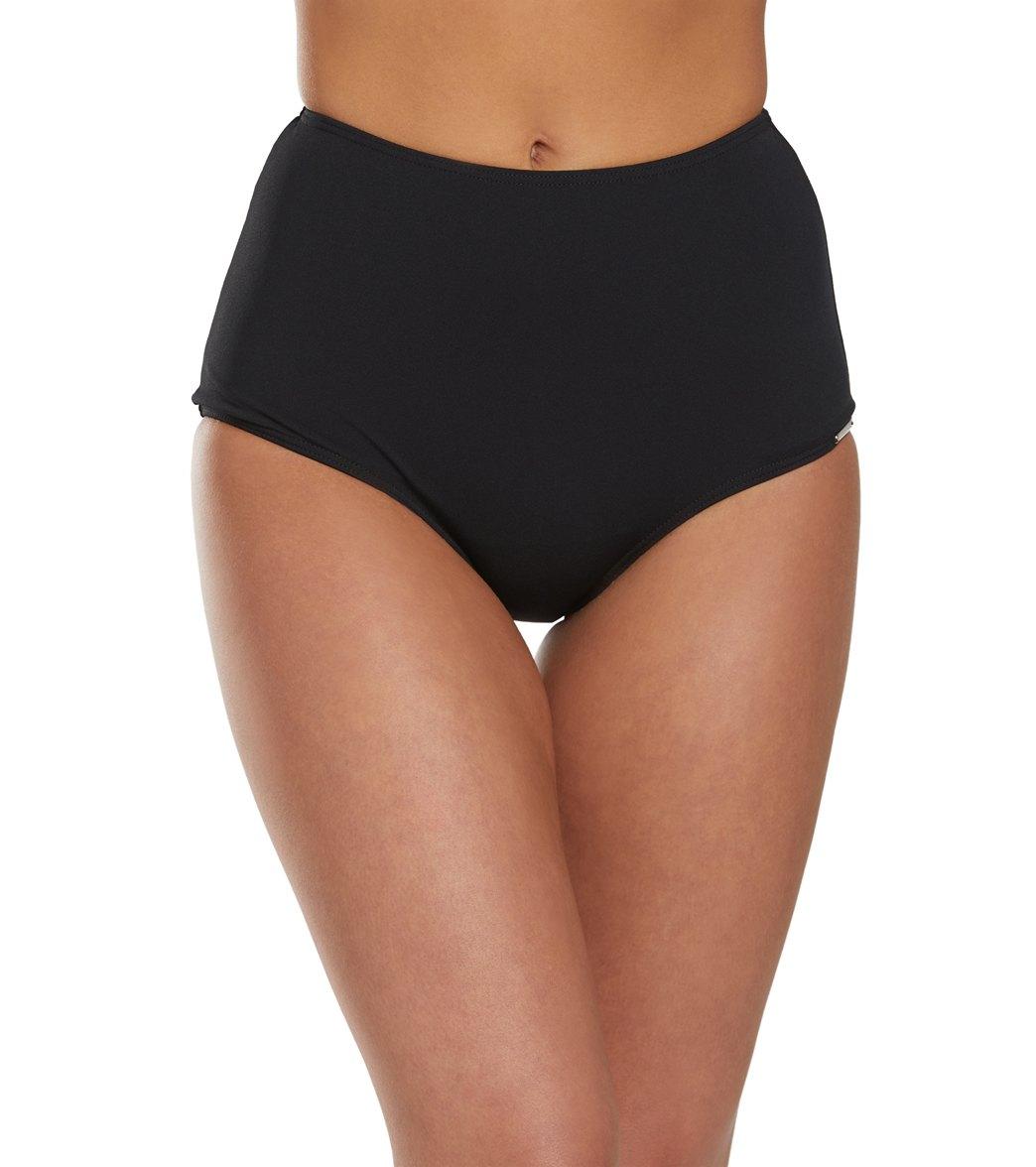 Capriosca Chlorine Resistant Solid High Waisted Bikini Bottom