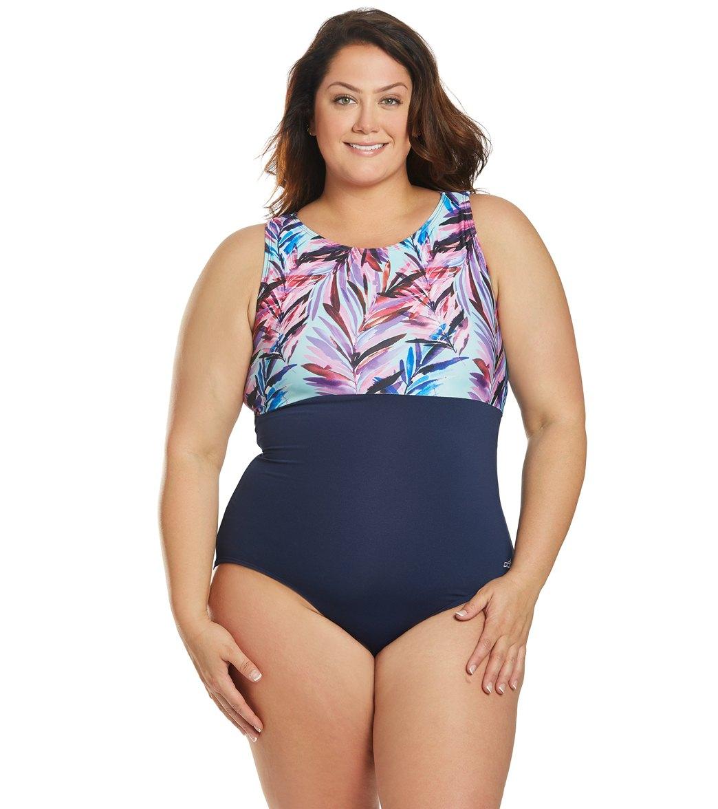 Dolfin Women's Plus Aquashape Wisteria Block High Neck Chlorine Resistant One Piece Swimsuit - Wysteria
