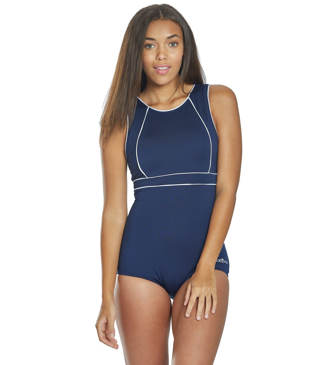 Dolfin Women S Aquashape Solid Conservative High Neck Chlorine Resistant One Piece Swimsuit At Swimoutlet Com Free Shipping