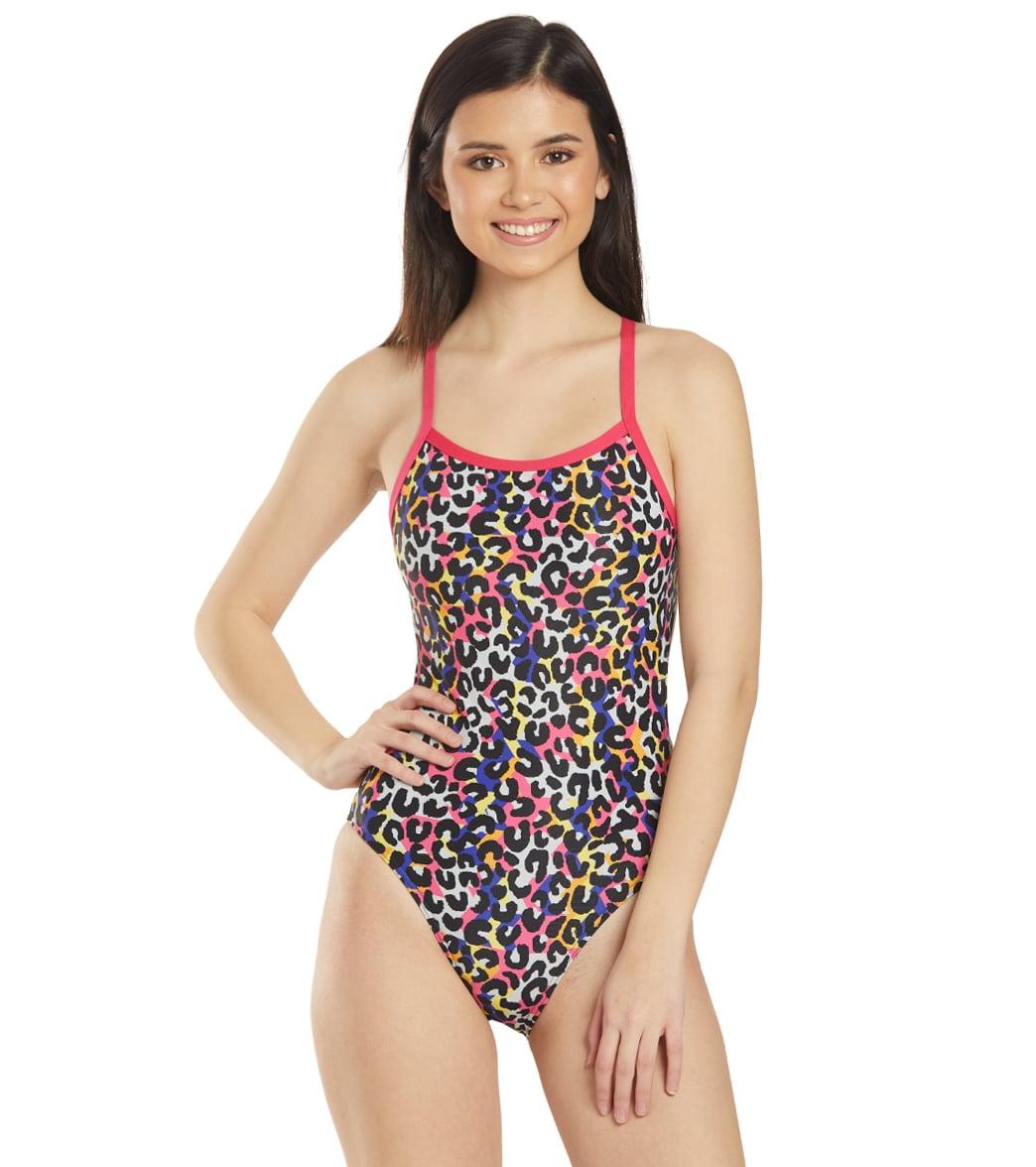 Arena Women's Cheetah Heat Challenge Back One Piece Swimsuit