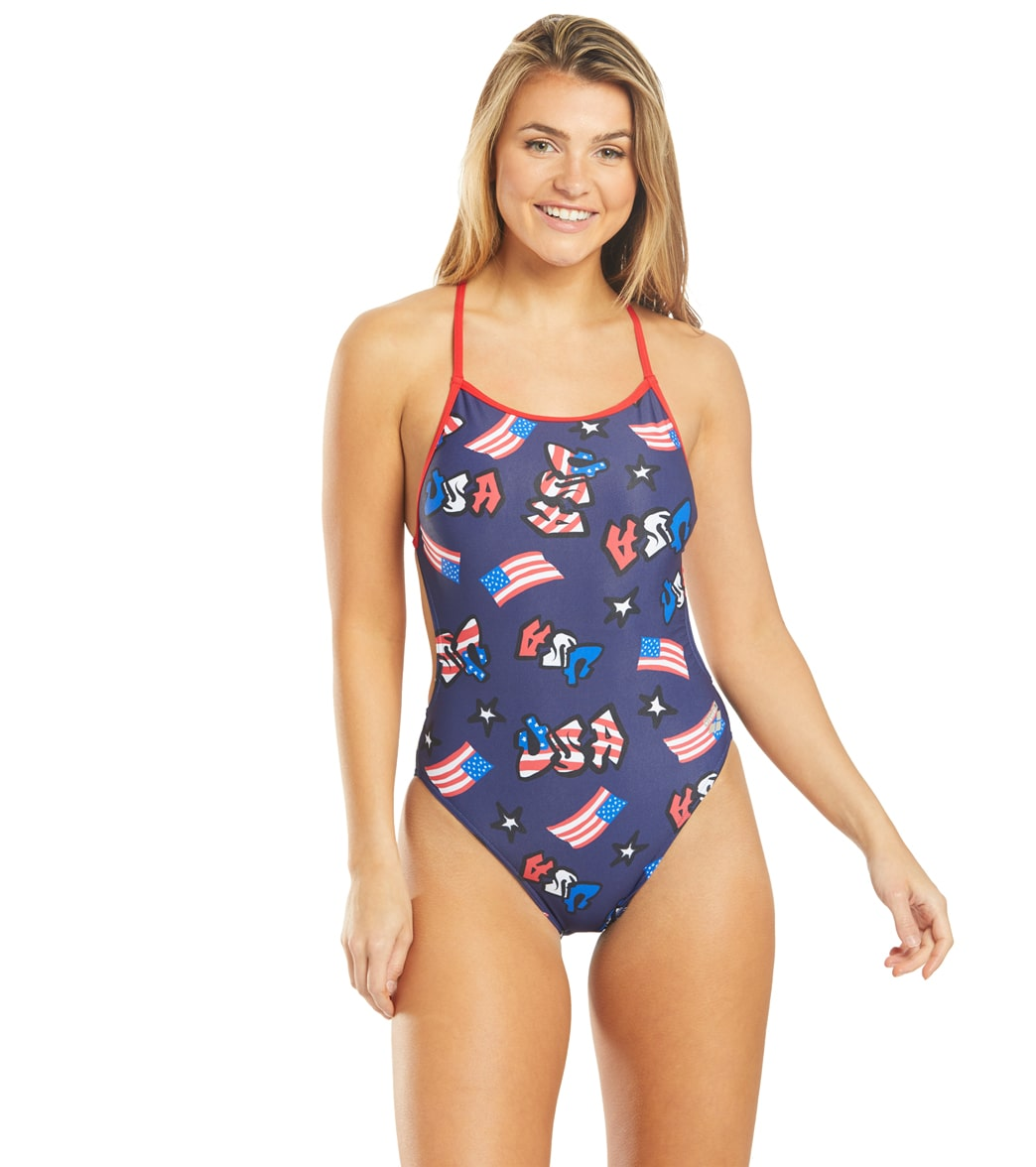 Arena Women's Graffiti Usa Booster Back One Piece Swimsuit