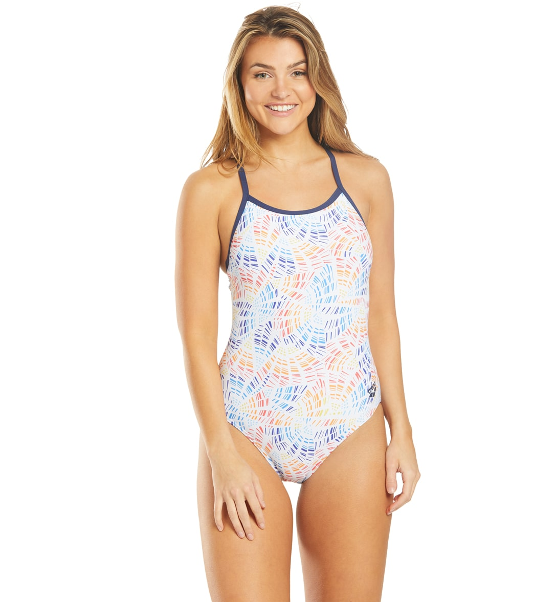 Arena Women's Abstract Mosaic Light Drop One Piece Swimsuit