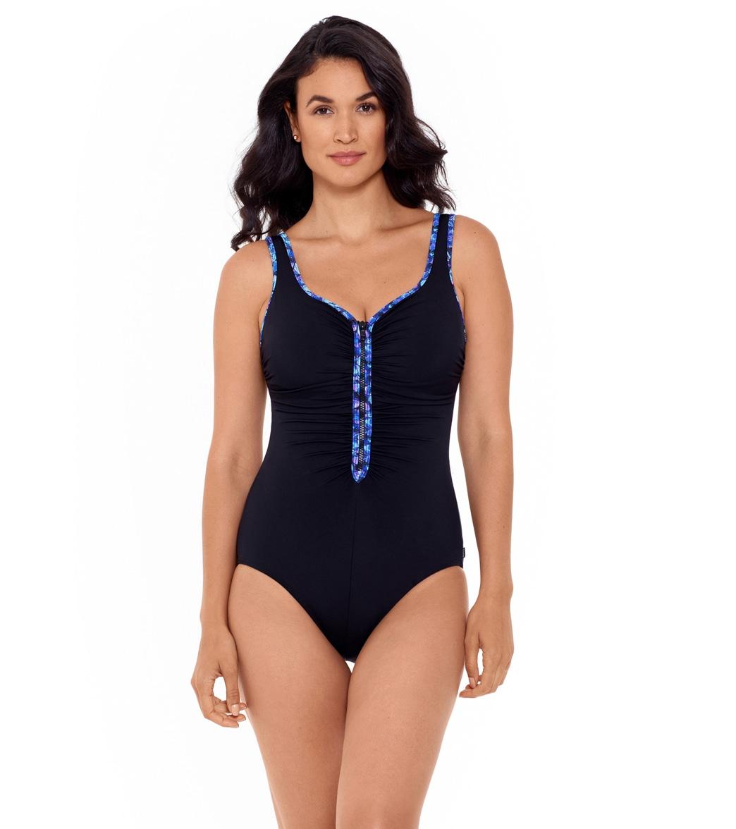 Reebok Women's Reflecting Rebel Shirred Zipper Tank Chlorine Resistant One Piece Swimsuit