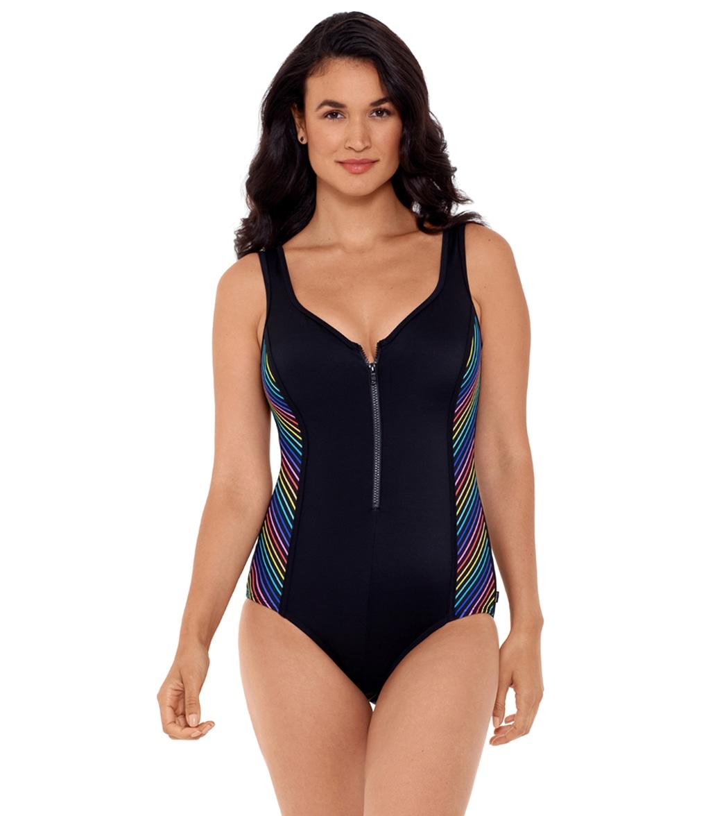 Reebok Women's Our Zips Are Sealed Zipper Tank Chlorine Resistant One Piece Swimsuit