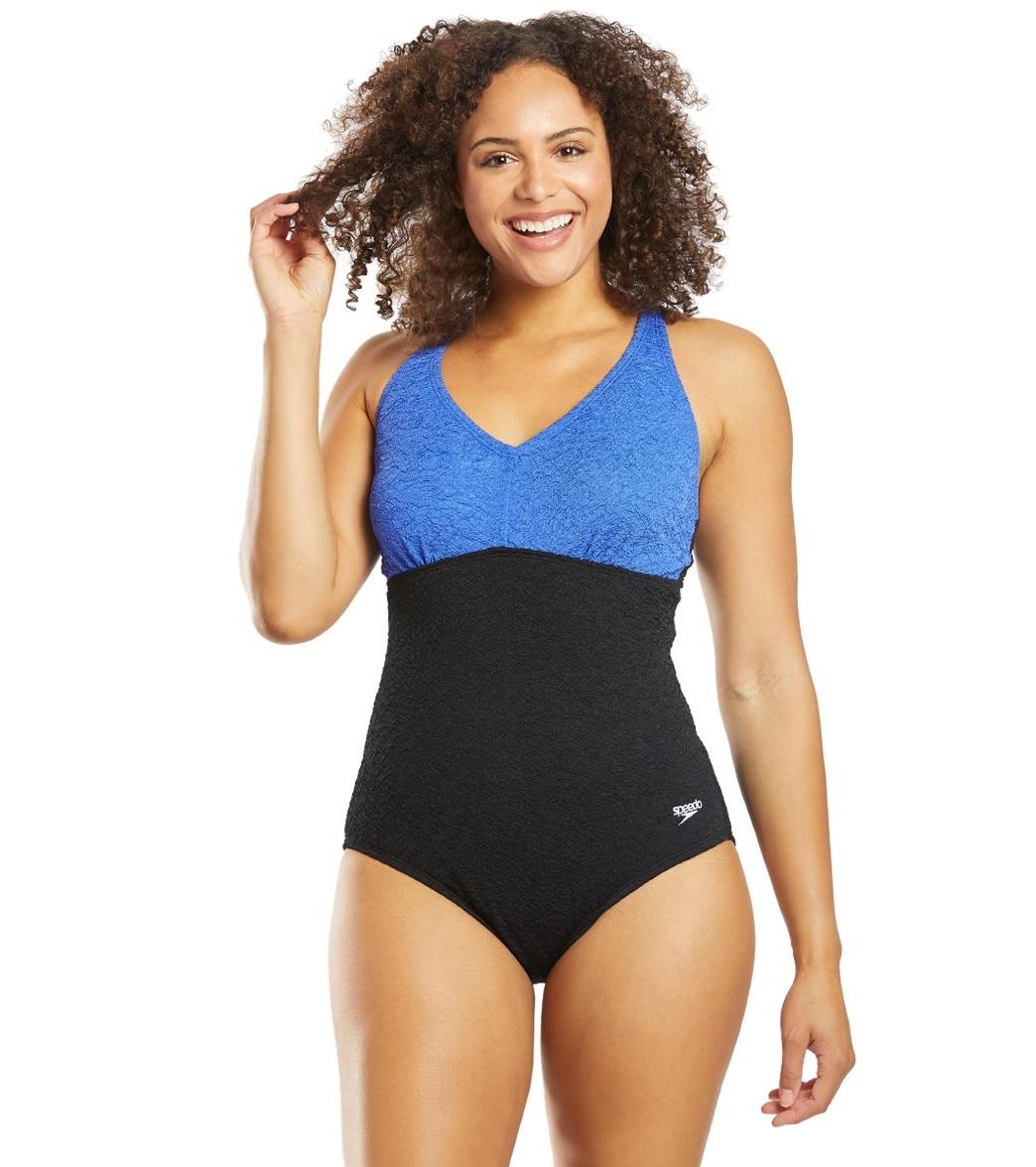 Speedo Women's Pebble Textureblock One Piece Swimsuit