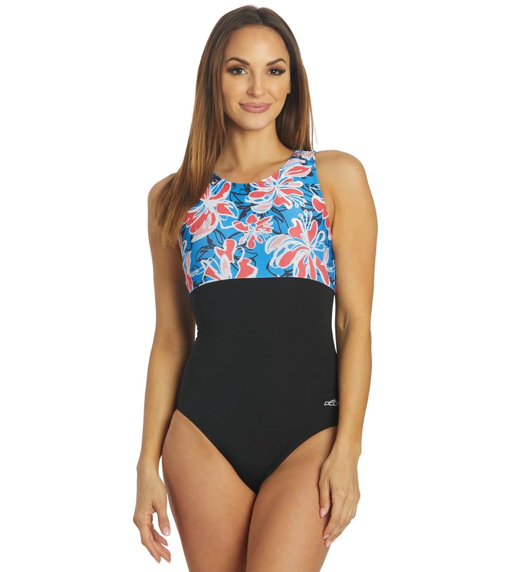 Dolfin Women's Aquashape Wildflowers Block High Neck Clasp Back One Piece Swimsuit