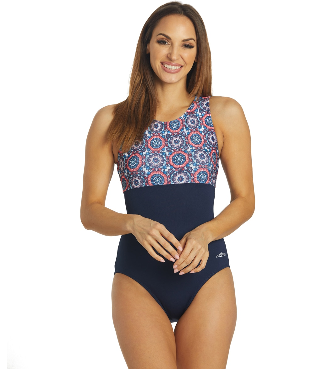 Dolfin Women's Aquashape Mosaic Block High Neck Clasp Back One Piece Swimsuit