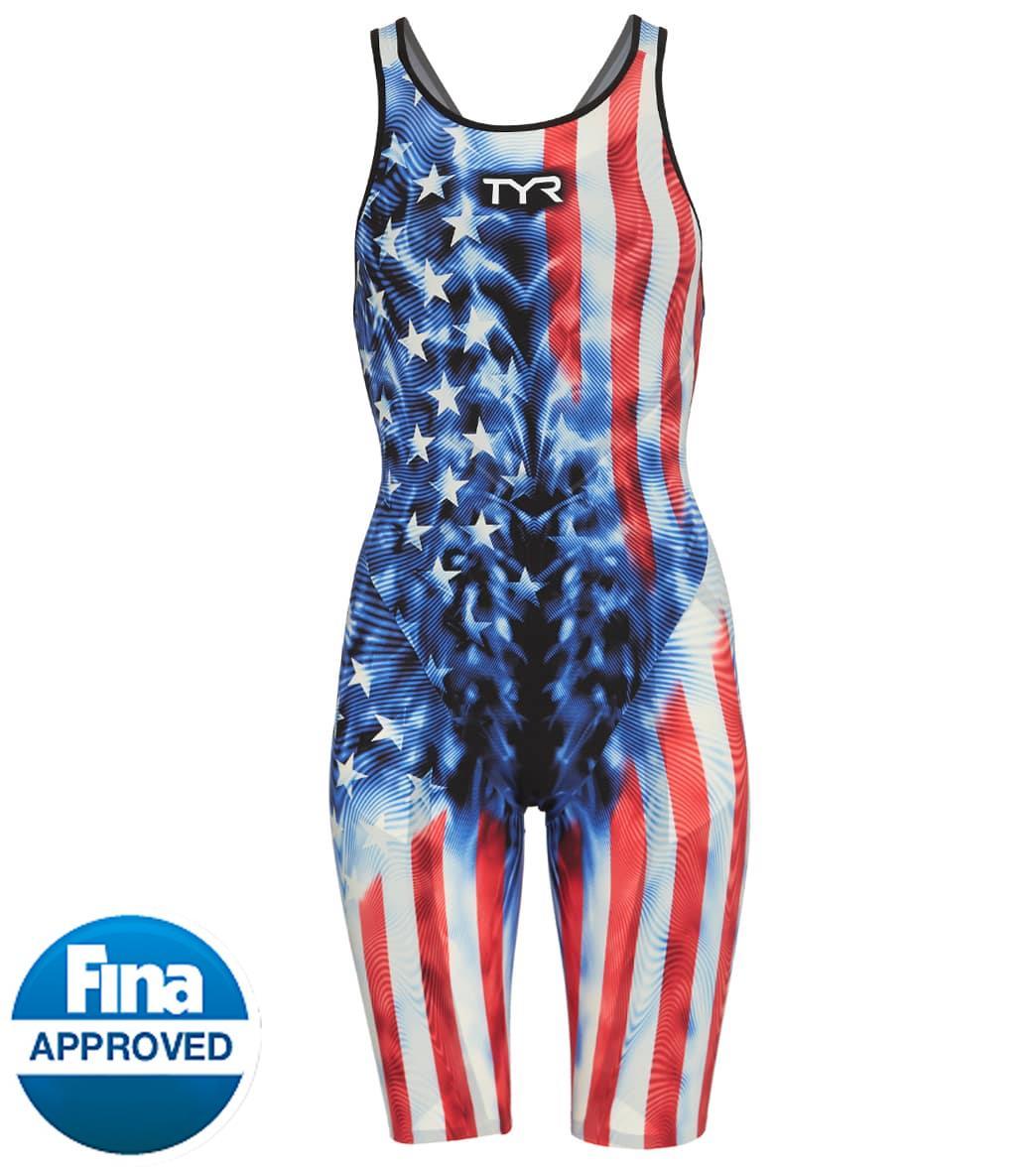 TYR Women's Venzo Genesis Usa Open Back Tech Suit Swimsuit