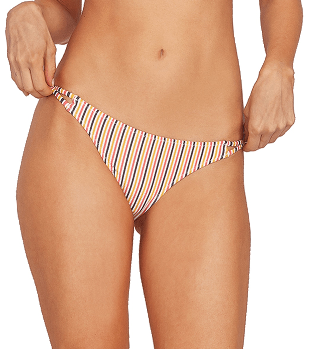 Mix and match your swimsuit tops with the E\\\'Ry Minute Hipster Bikini Bottom featuring a stripe print. FeaturesPull on Hipster Full bottom with metal ring and strap detail at wearer\\\'s sides. Volcom metal badge at wearer\\\'s center back waist opening. Full coverage fit. DetailsFabric: 56% Polyester, 40% Nylon, 4% Elastane Yarn Dye Pucker Jersey. Care: Hand wash, cold. Line dry. Closure: Pull on. Fit: Hipster. Adjustable: No. Bottom Coverage: Moderate. Rise: Low. Country of Origin: Imported. About Vo