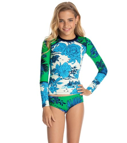 ranrann Kids Girls Two Piece Long Sleeves Floral Printed Tops with Bottoms Set Tankini Rash Guard Swimwear