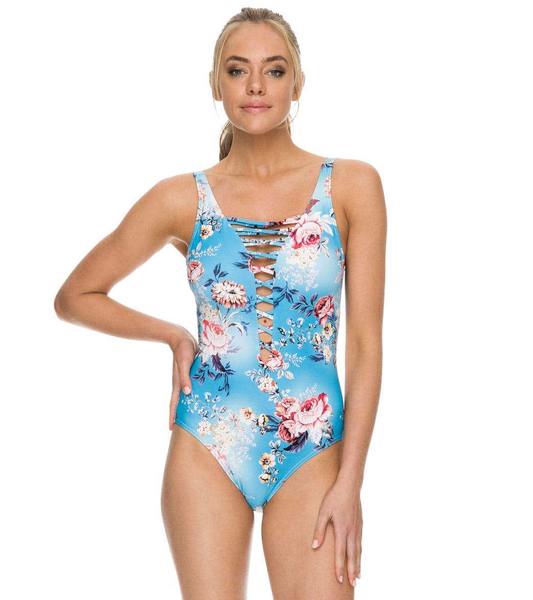 Azura Portabello Lace Up Highneck One Piece Swimsuit