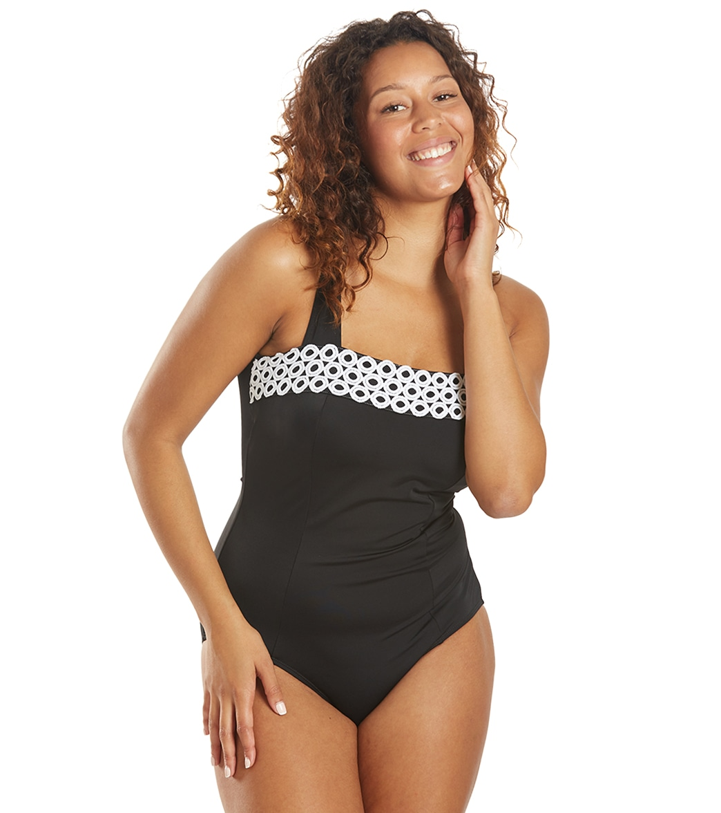 Fit4U Loopy Square Neck Tank One Piece Swimsuit