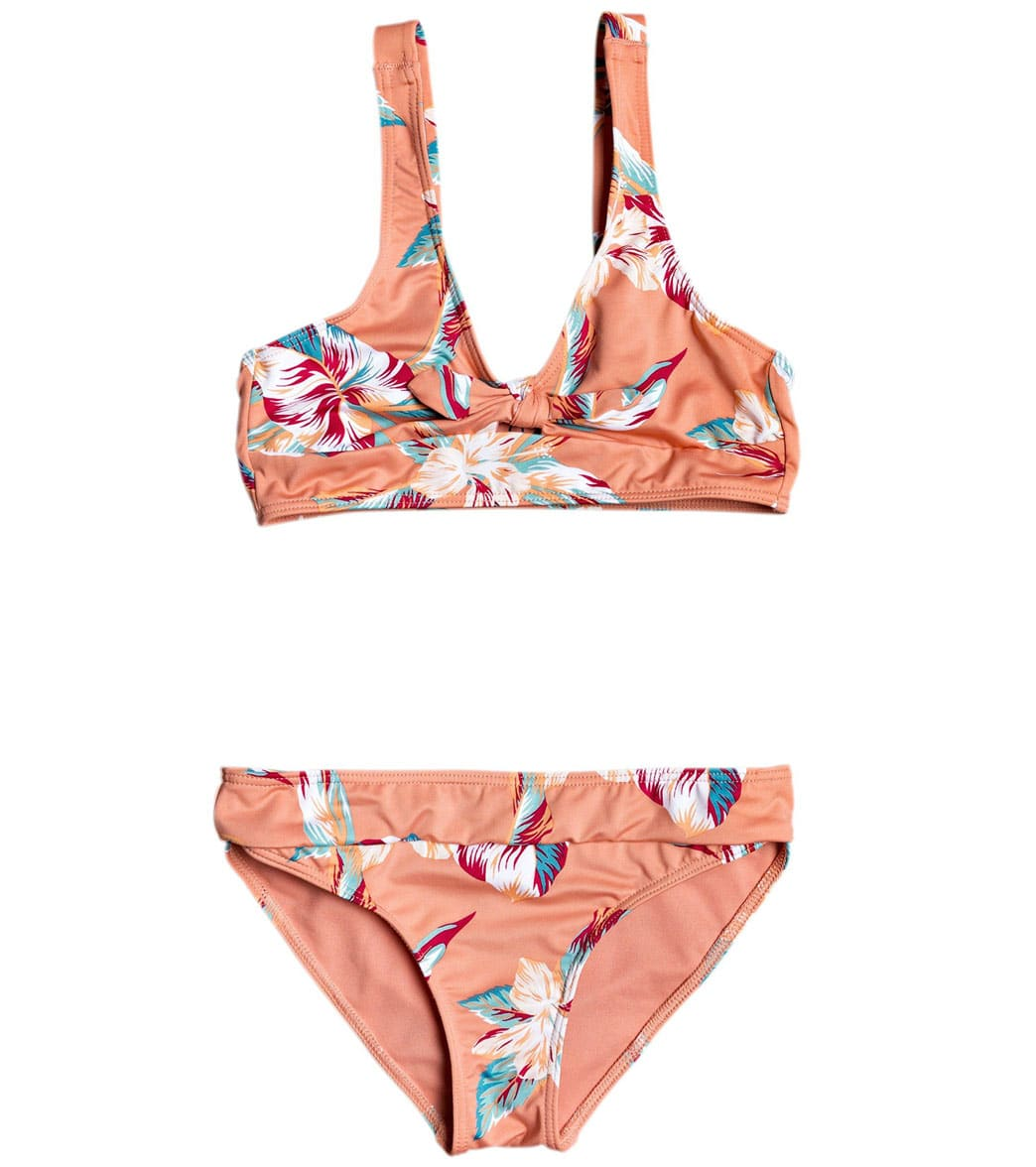 Love the way you look in the Roxy Girls\\\' Made For Roxy Two Piece Athletic Bikini Set (Big Kid) . FeaturesGirls\\\' bikini set. Floral print. Athletic triangle shape. Removable padding for 12-16 years. Adjustable straps. FIxed closure. Rubber ROXY plaque. Bow and peek-a-boo detail on front. About Roxy: Realizing there was a largely untapped women\\\'s surf market in the 1990s, Quiksilver (TM) developed Roxy (TM), a line completely dedicated to the women. Roxy was the first brand of its kind, and is cre