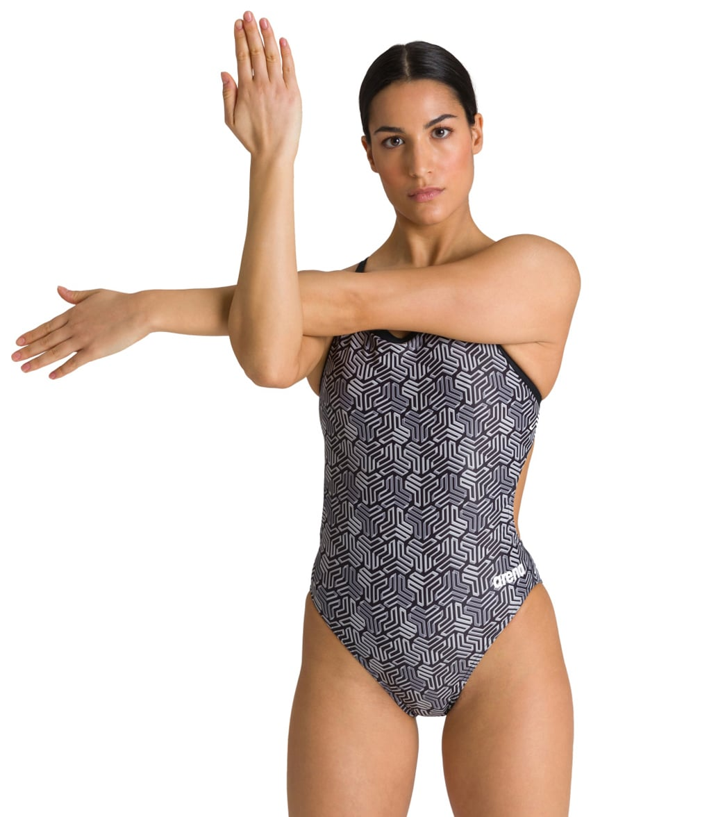 Arena Women's Kikko Maxlife Challenge Back One Piece Swimsuit-Multi Black Black