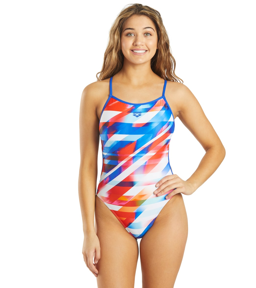 Arena Women's Rainbow Stripes Maxlife Lace Back One Piece Swimsuit
