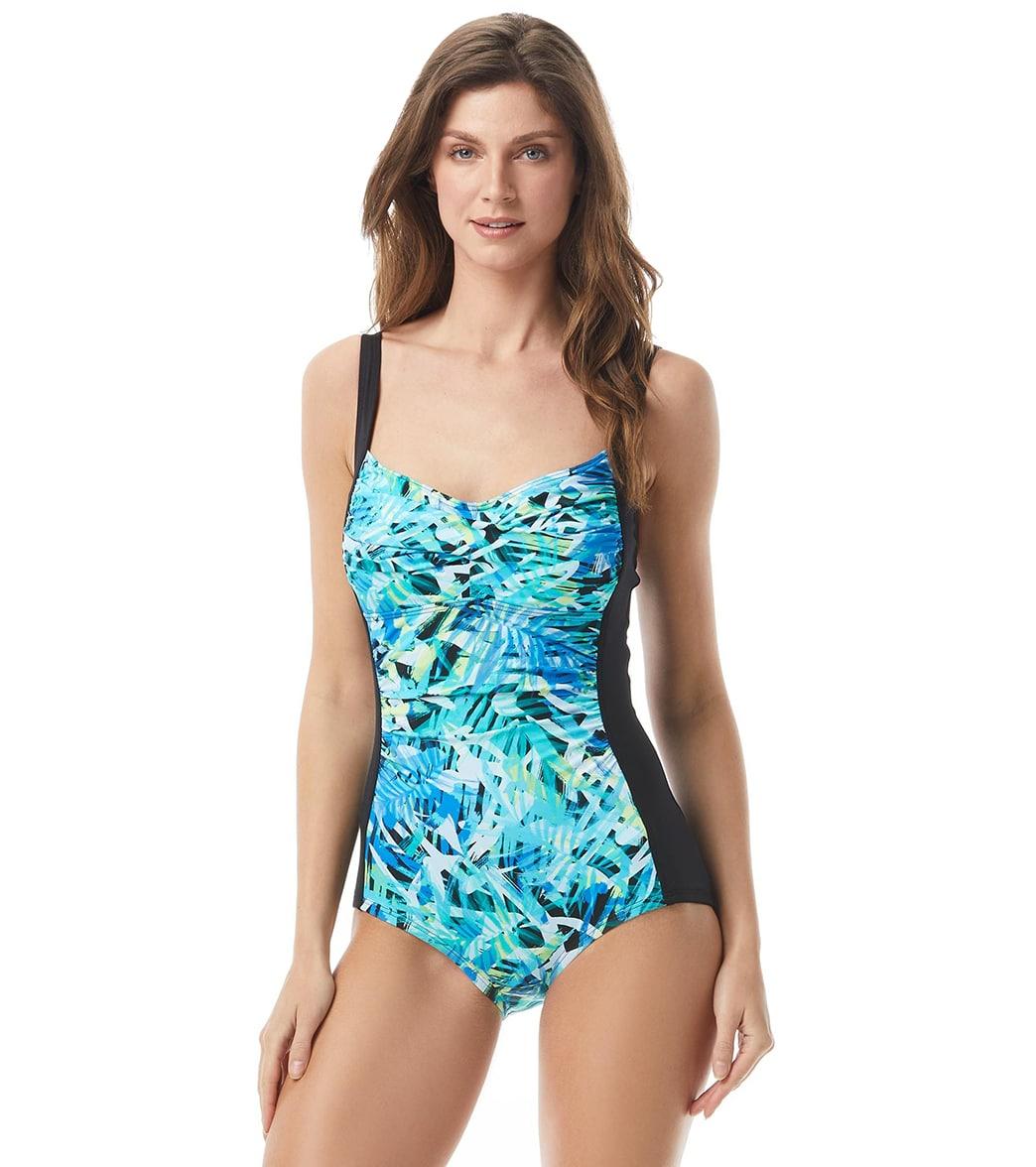 Gabar Chlorine Resistant Palm Spray Twist Bra One Piece Swimsuit