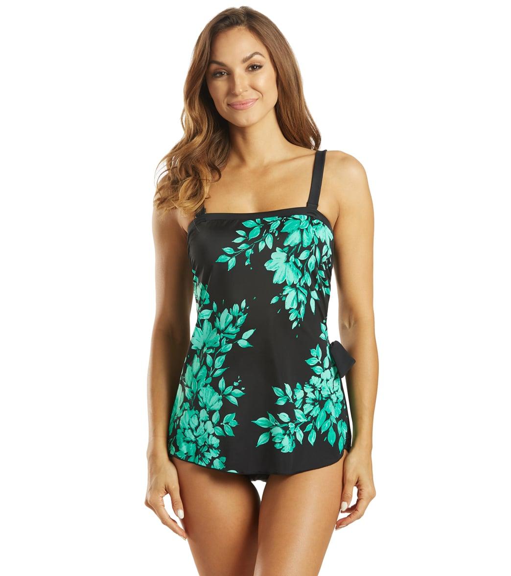 Maxine Women's Divine Floral Bandeau Sarong One Piece Swimsuit