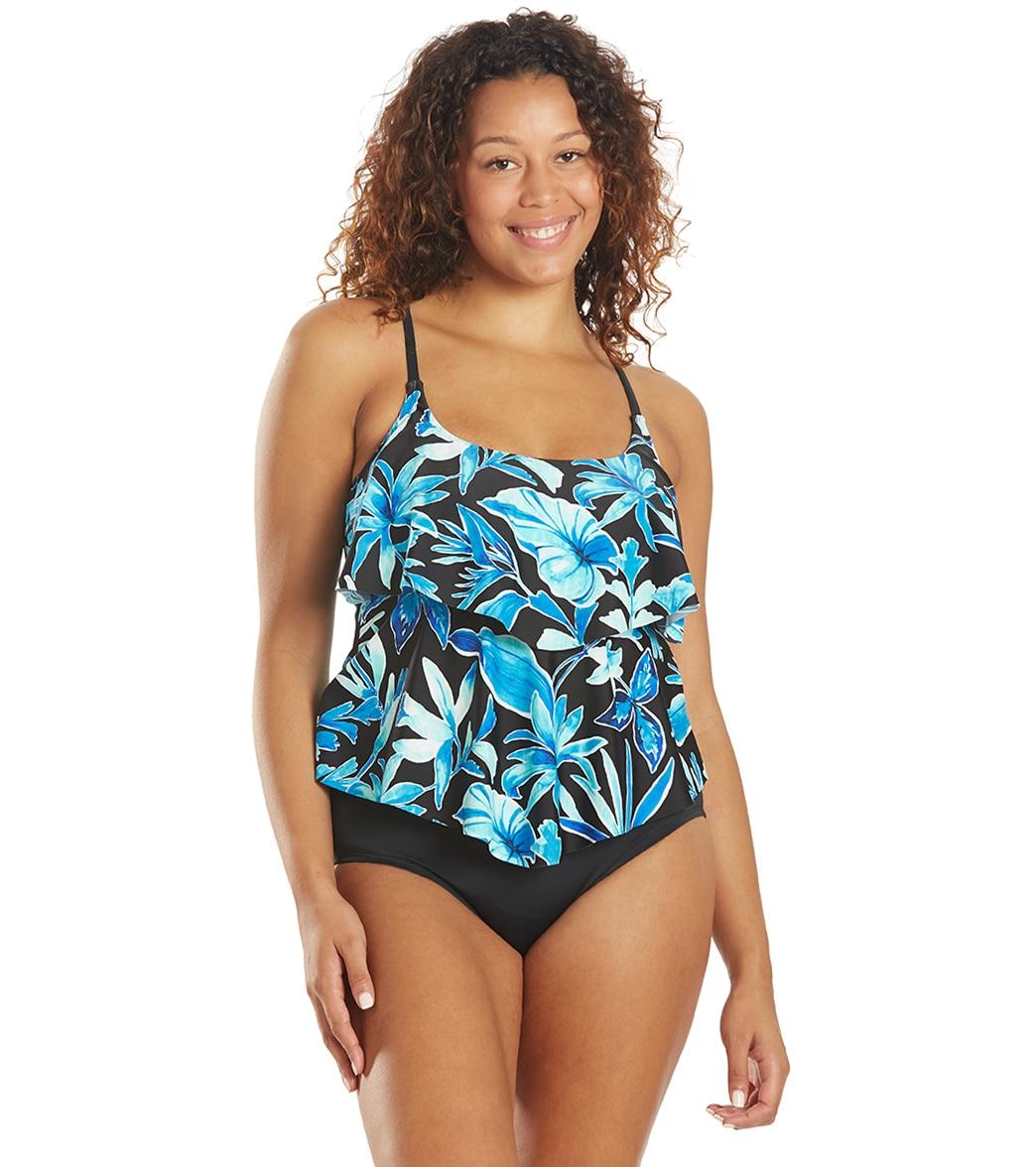 Maxine Women's Bahama Palm Tiered Tankini Top