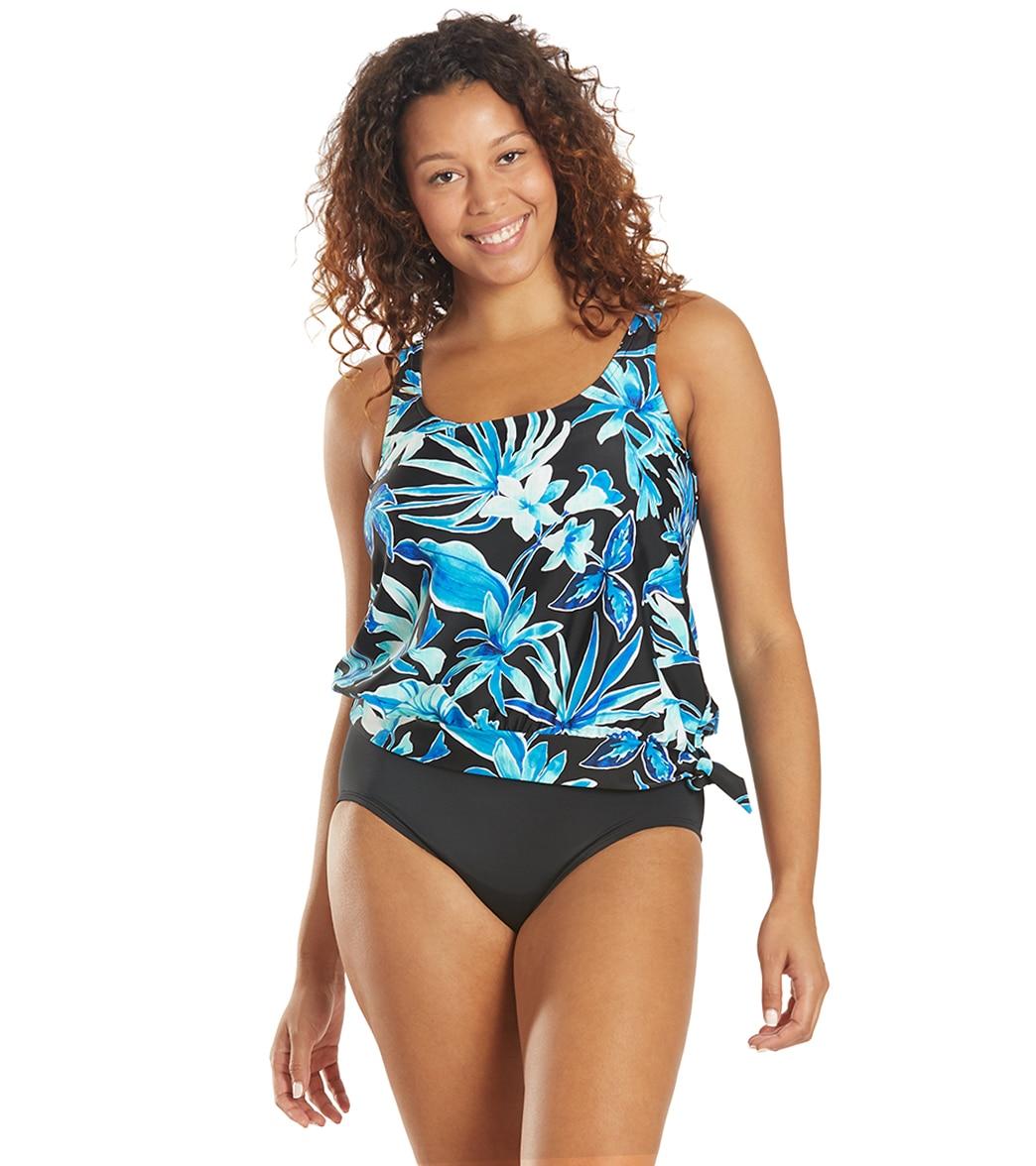 Maxine Women's Bahama Palm Scoop Blouson Tankini Top