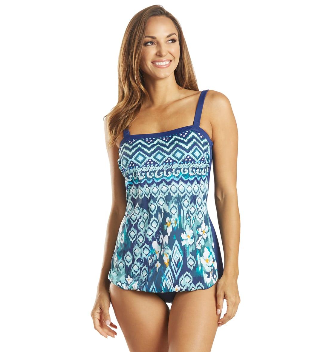 Maxine Women's Ikat Border Bandeau Sarong One Piece Swimsuit