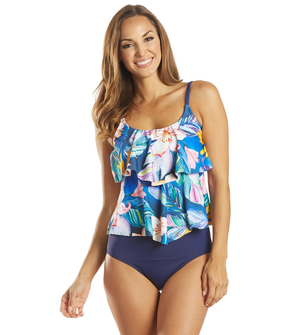 Maxine Women's Maui Wash Double Tier Tankini Top