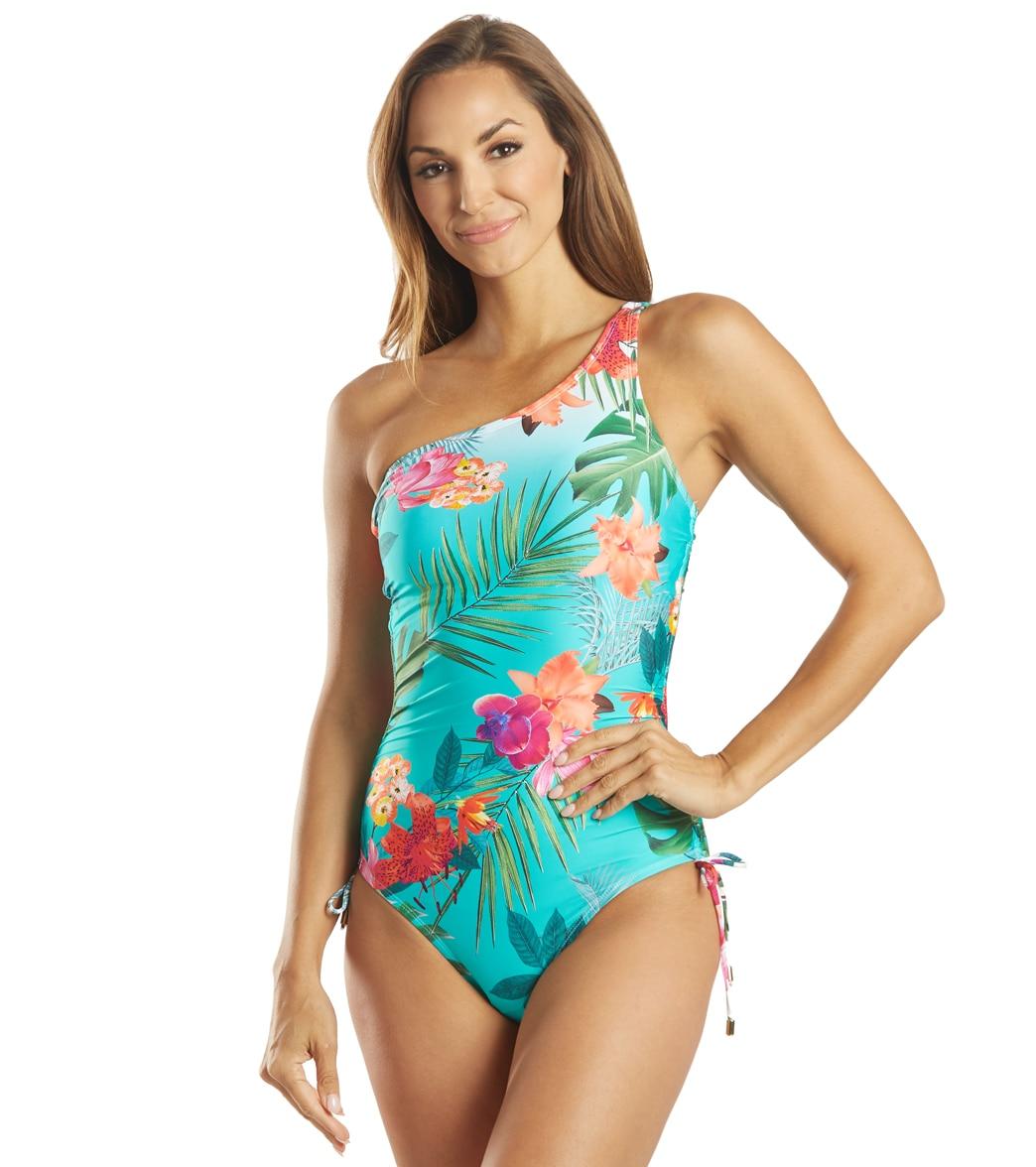 La Blanca Women's Tropicalia One Shoulder Shirred Mio Piece Swimsuit