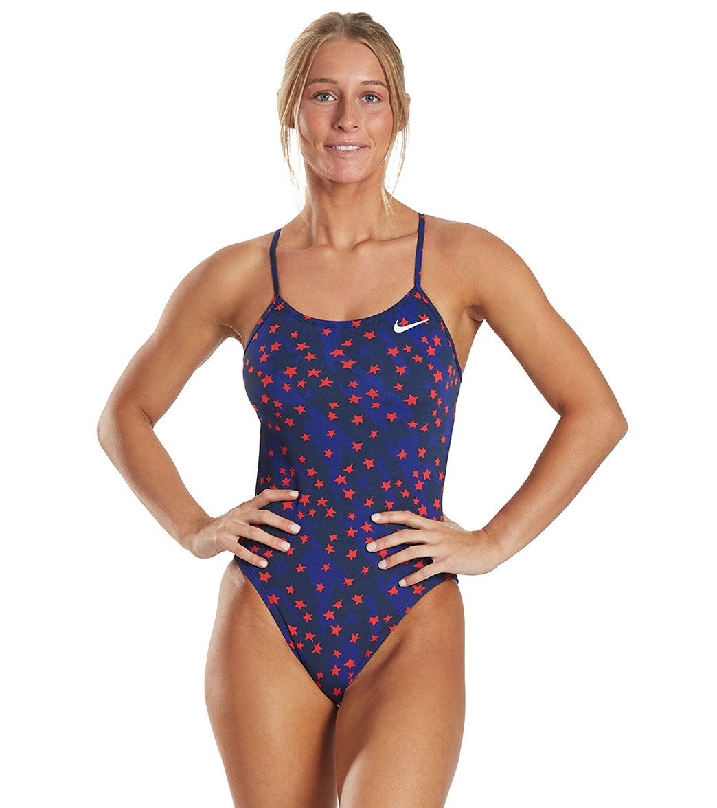 Nike Women's Hydrastrong Print Cut Out Tank One Piece Swimsuit