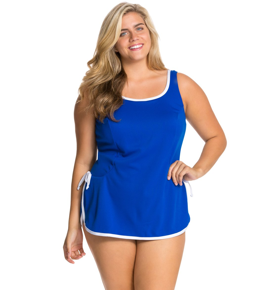 bdc22fedc4 Tuffy Plus Size Chlorine Resistant Polyester Tie Side Swim Dress at  SwimOutlet.com - Free Shipping