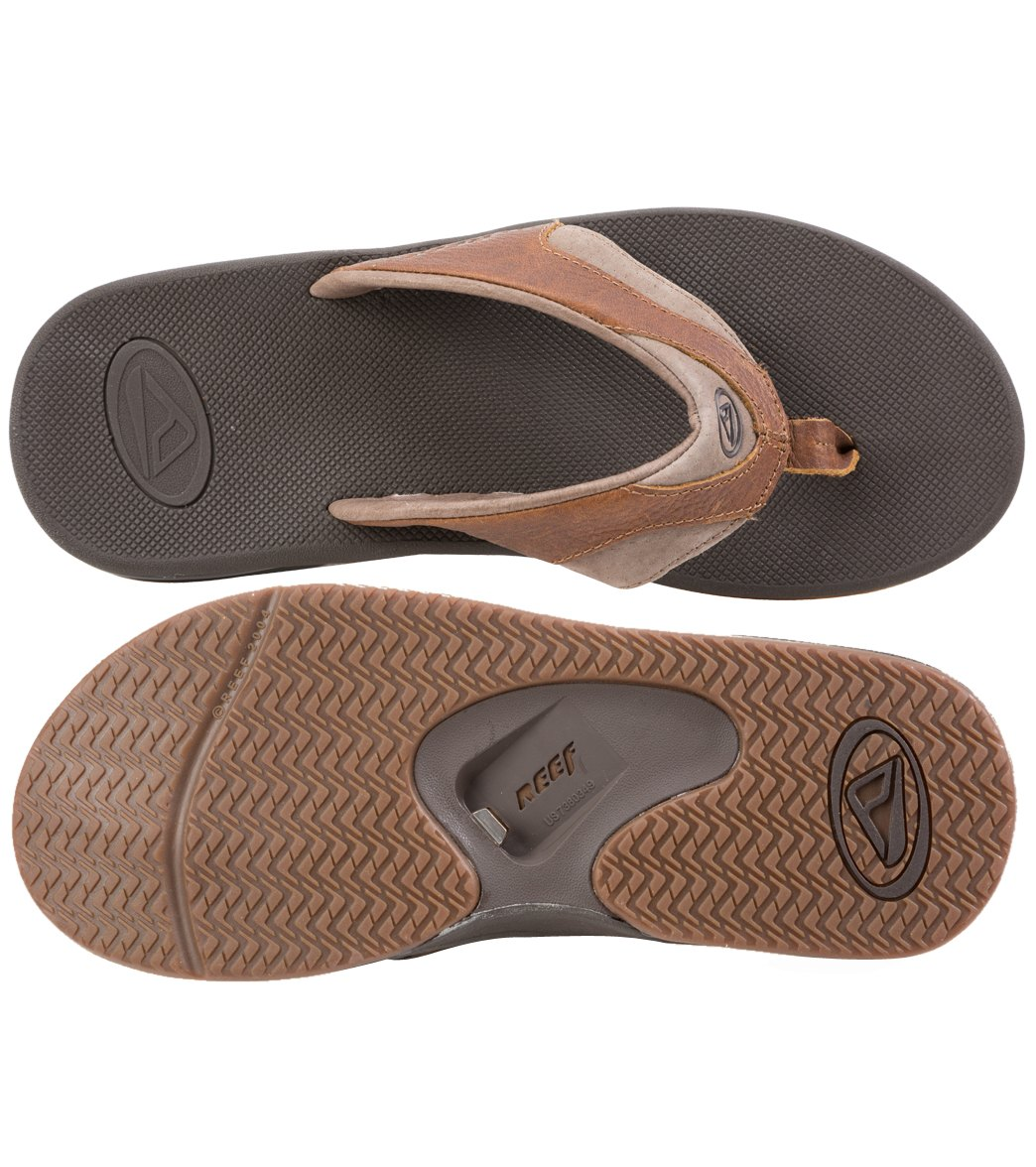 3480fcdab6ae Reef Men s Leather Fanning Flip Flop at SwimOutlet.com - Free Shipping