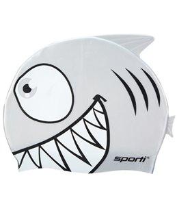 Sporti Cartoon Shark Silicone Swim Cap Jr.
